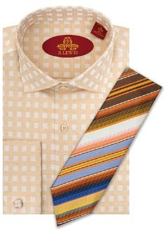 Robert Lewis Cream Checked Striped RL237D