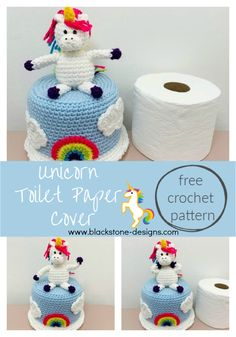 Unicorn Toilet Paper Cover free crochet pattern from Blackstone Designs!  Make this quick and easy cover to hide the extra roll of toilet paper on the back of your toilet!  #Freecrochetpattern #crochet #unicorns #crochetunicorn #unicorncrafts #toiletpapercrafts #toiletpapercover #bathroomdecor