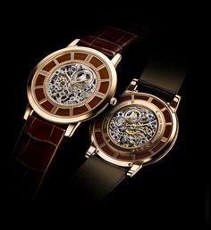 La montre Master Ultra Thin Squelette de Jaeger-LeCoultre, or rose et cuir marron