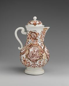 Coffeepot Meissen Manufactory (German, 1710–present)  Factory director:     Böttger Period (1713–1720) Decorator:     Decoration attributed to Ignaz Bottengruber (active ca. 1720–ca. 1730, Breslau, ca. 1728–30) Date:     ca. 1715–30
