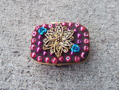 Flower Pill Box Mosaic Pill Box Push Button by PiecesofhomeMosaics, $18.00