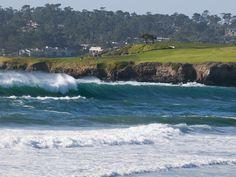 Pebble Beach Golf Course and Large Waves at Carmel Beach City Park