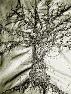 """Sewing machine work on felt a tree which was made using the sewing machine, we had a brief called """"the absent wearer"""" to define a new sense ..."""