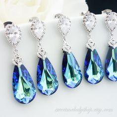 10% OFF SET of 5 Bridesmaid Gift Wedding Bridal Jewelry Bermuda Blue Swarovski Crystal Tear Drop Earrings Peacock Jewelry Something Blue