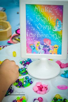 My Little Pony accessory creation station from a My Little Pony Birthday Party via Kara's Party Ideas | KarasPartyIdeas.com (2)
