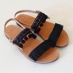Black Bohemian Fringe Leather Sandals, Pompom Sandals, Girls Suede Sandals, Boho Leather Sandals by GlowHandmade on Etsy