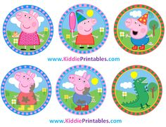 Peppa Pig Cupcake Toppers, Peppa Pig Stickers, Instant Download Peppa Pig Gift Tags, Set of 12, Peppa Pig Party Favor PDF PNG by KiddiePrintables on Etsy
