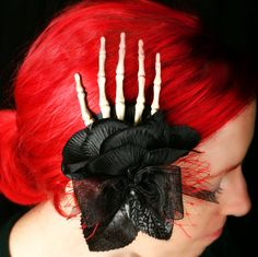 Day of the Dead Skeleton Hand Fascinator Hair by FrigidCouture on Etsy    Dia de los Muertos folk art fascinator headpiece hair clip skeleton hand black rose gothic rockabilly steampunk halloween