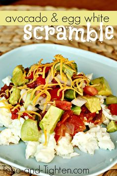 Avocado and Egg White Scramble from Tone-and-Tighten.com. A delicious and healthy breakfast! #healthyrecipe