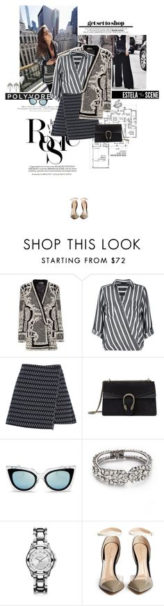 """Mother of pearl."" by sa3ina ❤ liked on Polyvore featuring Whiteley, Zimmermann, Balmain, H&M, River Island, Elizabeth and James, Gucci, Fendi, Jenny Packham and Karl Lagerfeld"