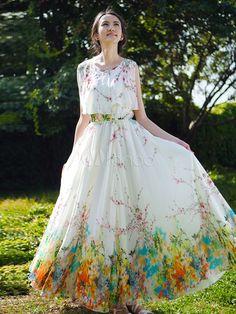 Fantastic Floral Print Sash Chiffon Women's Maxi Dress - Milanoo.com