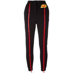 Au Jour Le Jour front zip track pants ($338) ❤ liked on Polyvore featuring pants, bottoms, trousers, black and au jour le jour
