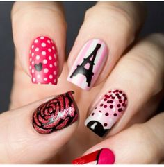 Every girl want to look attractive so nail art designs is one of your beauty part. So we share some collection of beautiful nail art designs for girls. Nail Art Paris, Paris Nails, Cute Nail Art, Beautiful Nail Art, Beautiful Paris, Pretty Nails, Fun Nails, Nail Art Inspiration, Nail Art Designs