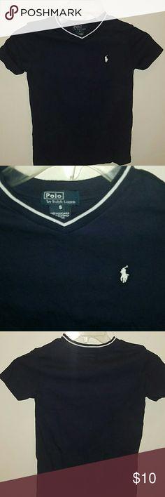 BOYS RALPH LAUREN T-SHIRT Boys navy blue Ralph Lauren t-shirt with white  Used and in good condition Ralph Lauren Shirts & Tops Tees - Short Sleeve
