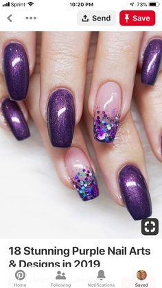 18 Stunning Purple Nail Arts & Designs in 2019 is part of Cute Acrylic nails Bling - Try our cutest trends of purple nail arts and designs so that you may get fresh hands' look and gorgeous personality in year 2019 Purple Nail Art, Purple Nail Designs, New Nail Designs, Purple Gel Nails, Purple Nails With Design, Nails Design, Purple Wedding Nails, Purple Pedicure, Bling Nail Art