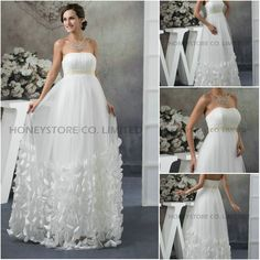 Aliexpress.com : Buy Cheap Empire Strapless Floor Length Tulle with Beaded and Flowers Wedding Dresses from Reliable flower wedding dress suppliers on HONEYSTORE CO., LIMITED $379.60