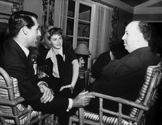 Alfred Hitchcock, Cary Grant and Ingrid Bergman on the set of Notorious (1946)