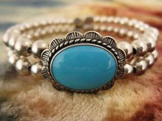 Cuff Bracelet  Sterling Silver  Turquoise  by Worldwideoddities, $60.00