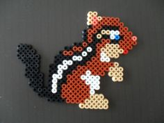 Squirrel perler beads by Veronique Celis Perler Bead Designs, Perler Bead Templates, Hama Beads Design, Diy Perler Beads, Pearler Bead Patterns, Pony Bead Patterns, Perler Patterns, Pearler Beads, Melt Beads Patterns