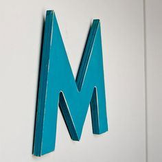 Turquoise Wood Letter M - Futura Font from #Etsy (EdiesLab)