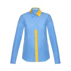 JIL SANDER Viola bi-colour cotton-poplin shirt (7.011.090 IDR) ❤ liked on Polyvore featuring tops, light blue, blue top, jil sander shirt, shirts & tops, loose fitting tops and loose fitting shirts