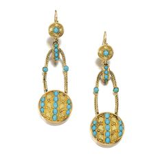 Pair of gold and turquoise pendent earrings, Mid 19th Century