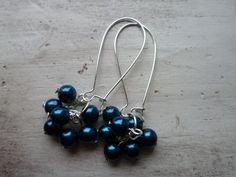 Glass Pearl Beads Cluster Earrings Kidney Wires Petrol Blue Long Earrings Gifts For Her Gifts Under 5 Mothers Day Gifts Dark Blue Earrings