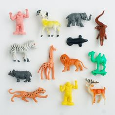 Plastic animals collection with green camel