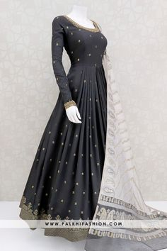 Bold & Beautiful Black Soft Silk Elegant Outfit With Attractive Dupatta - Black soft silk indian outfit from palkhi fashion featuring petite stone,cutdana,threads & embossed butta work.beige art silk dupatta with weaving designs. Pakistani Dresses Casual, Indian Fashion Dresses, Indian Gowns Dresses, Dress Indian Style, Pakistani Dress Design, Indian Designer Outfits, Pakistani Bridal, Designer Anarkali Dresses, Designer Party Wear Dresses