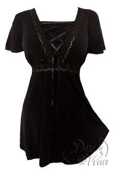 Dare to wear corset ANGEL BLACK & GOLD top renaissance GYPSY PIRATES