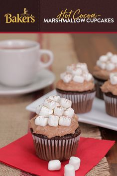 Cozy up to deliciousness with this easy to make but crowd-pleasing dessert recipe: Hot Cocoa-Marshmallow Cupcakes made with Baker's Semi-Sweet Chocolate. Thanksgiving Desserts, Holiday Desserts, Holiday Baking, Christmas Baking, Holiday Treats, Holiday Recipes, Cupcake Recipes, Baking Recipes, Cupcake Cakes