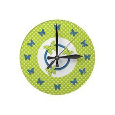 Blue Lime n White Polka Dots n Butterflies Clock by hhbabyshop
