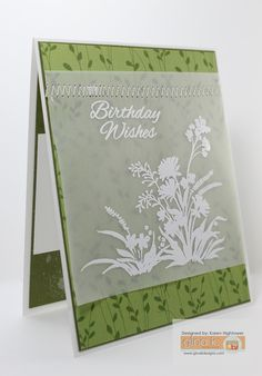 """This one I used Gina K. Designs Product: Stamp Set - """"Wild Blossoms"""" By: Gina K. Pure Luxury Card Stock, Patterned Paper Delicate Essentials, Embossing Powder-Fine Detail White & Vellum Made for Gina K. Designs By: Karen Hightower You can get these products @ http://www.shop.ginakdesigns.com #ginakdesigns,"""