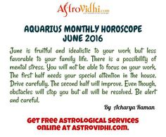 Read your Aquarius Monthly horoscope from AstroVidhi. Check your Aquarius monthly love, career, business horoscope & relationship compatibility in your Aquarius Monthly horoscope. We are free source to get Aquarius monthly horoscope.
