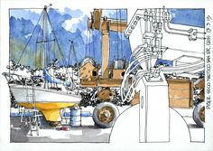 JR Sketches: Last summer, some visits to a club shipyard