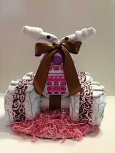 Luv My Pink Camo Baby 4 Wheeler Diaper Cake by BebeBlissbabygifts