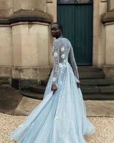 Something Chic: 24 Blue Wedding Dresses For Your Happy Wedding ❤ blue weddingdresses a line with long sleeves floral appliques paolo_sebastian #weddingforward #wedding #bride #weddingoutfit #bridaloutfit #weddinggown