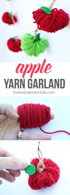 Learn to make an adorable apple yarn garland. Perfect for fall!