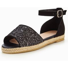 V By Very Millie Glitter Espadrille- Black (€25) ❤ liked on Polyvore featuring shoes, sandals, black shoes, black glitter shoes, espadrille sandals, espadrille shoes and glitter shoes