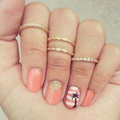 Peach Palm Tree Nails