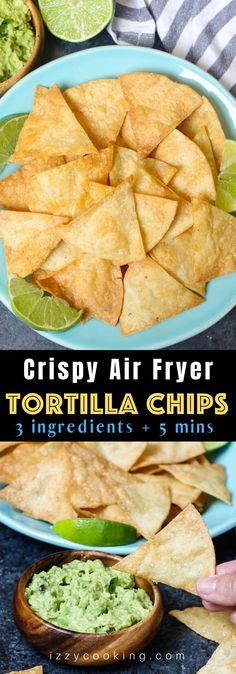 The best ever super crispy and crunchy Air Fryer Tortilla Chips without oil! You'll only need 3 ingredients and a few minutes! The best ever super crispy and crunchy Air Fryer Tortilla Chips without oil! You'll only need 3 ingredients and a few minutes! Air Fryer Dinner Recipes, Air Fryer Oven Recipes, Air Fryer Recipes Mexican, Air Fried Vegetable Recipes, Air Fryer Chips, Air Fryer Potato Chips, Best Air Fryers, Air Fryer Healthy, Air Frying