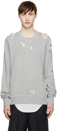 Miharayasuhiro - Grey Distressed Sweatshirt