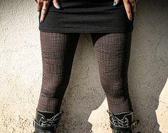 GRAPHITE - Grunge Post Apocalyptic Brown Leggings Goth Steampunk Wasteland Punk Alternative Clothing