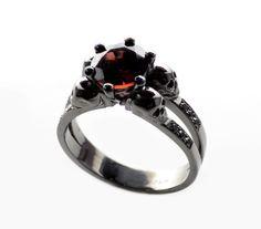 Skull Engagement RingBlack Skull RingGoth Wedding