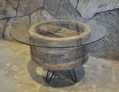 Wooden Pulley Wheel Side/Coffee Table by BranchesFurniture on Etsy