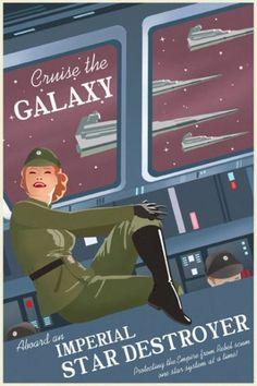 fausses affiches publicitaires à l'ancienne vantant des destinations sorties de la sage Star Wars.