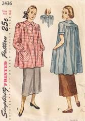 1940's Simplicity 2436 Smock Pattern Bust 34