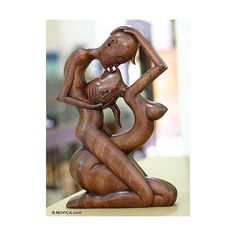 Wood statuette, 'Upside-down Kissing' - Romantic Wood Sculpture Sculpture Metal, Robin Wright, Sculptures Céramiques, Arte Popular, Wooden Art, Rodin, Erotic Art, Decorative Objects, Wood Carving