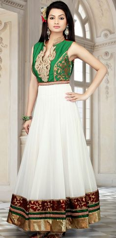 Long  Length #Anarkali #Design In #White Color | @ $157.48 | Get It Here: http://www.sareegalaxy.com/pages/itemlarge.aspx?itemcode=KVD17M25816