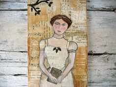 Garden Poetry-woman in garden reading poems collage by luckduck
